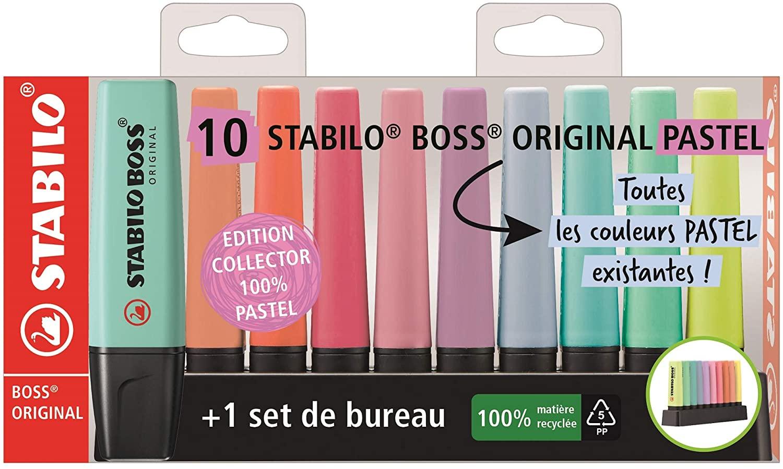 Lot de 10 surligneurs Stabilo Boss Original