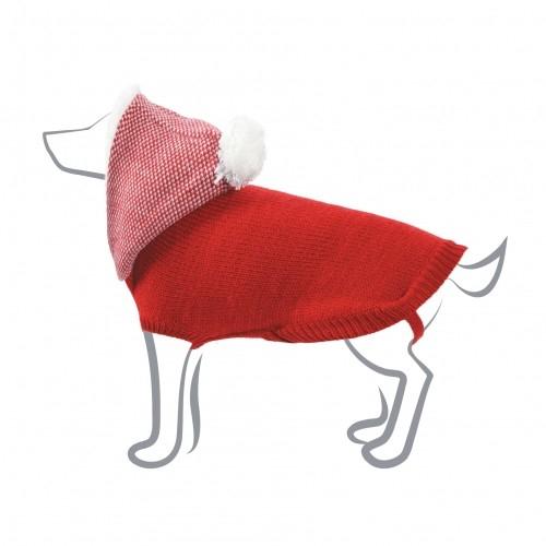 Pull pour chien avec Capuche Chiné - Rouge, 35 cm