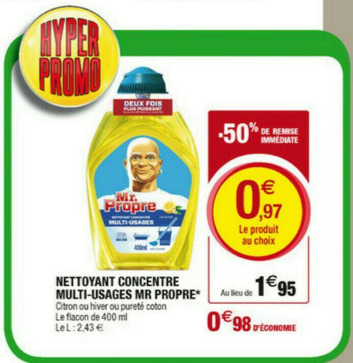 Gel nettoyant concentré Mr Propre différents parfums - 400ml (via BDR)