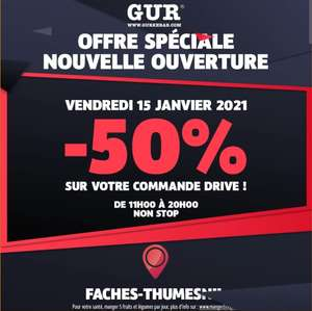 50% de réduction sur les commande drive - Gur faches thumesnil (59)