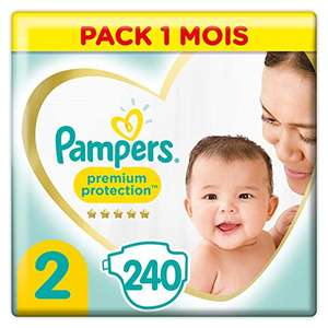 240 Couches Pampers Taille 2 (4-8 kg) - Premium Protection - 1 Mois