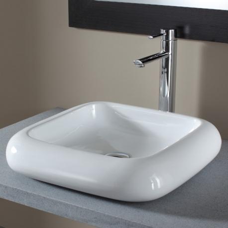 Vasque à poser carrée en céramique - Blanche, 46 x 46 cm