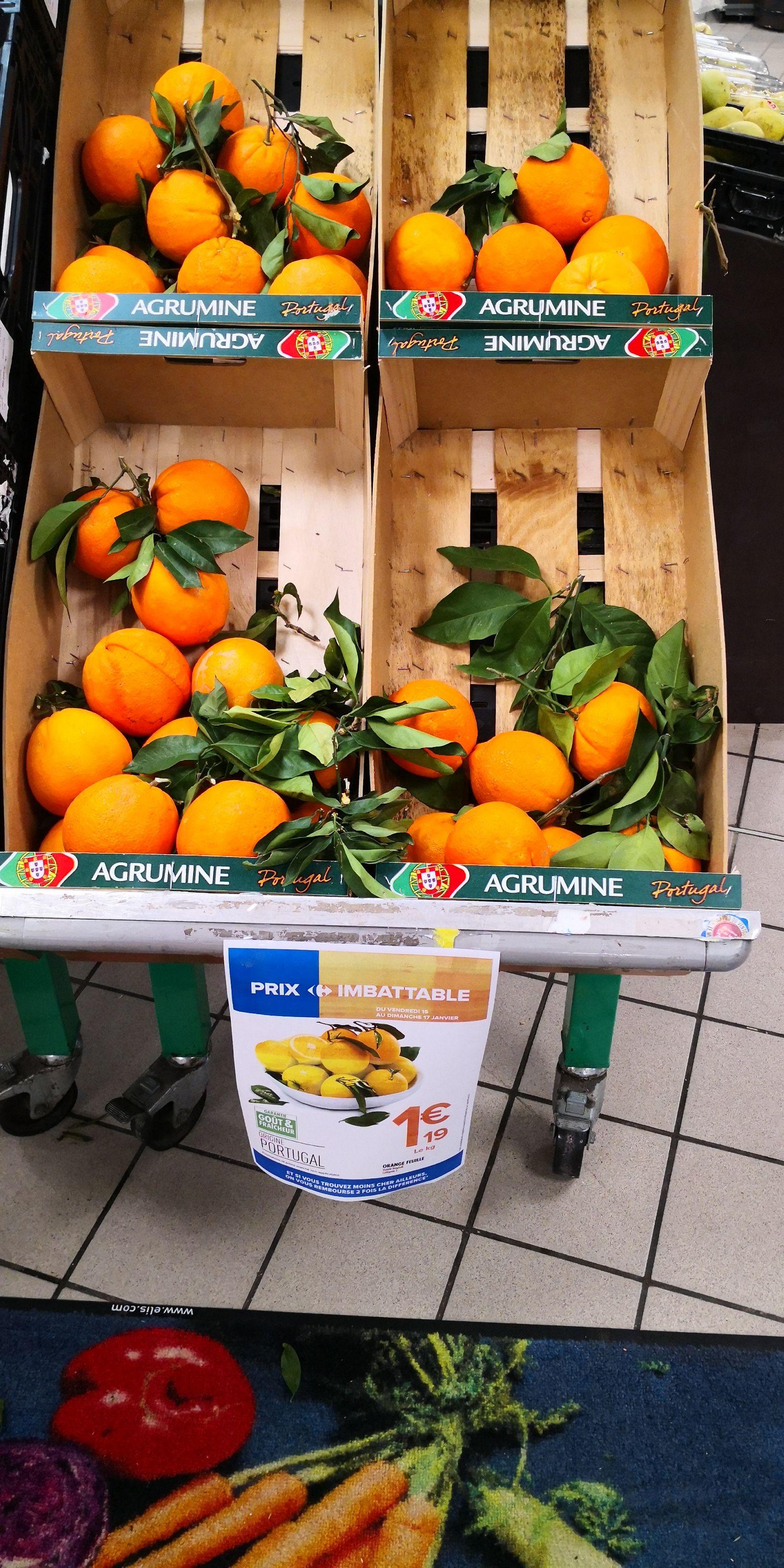 Oranges feuilles, origine Portugal - 1kg (Cannes 06 et national)