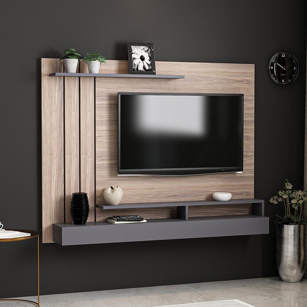 Meuble TV avec étagère Minar Lawrance - aggloméré - coloris gris anthracite et chromé