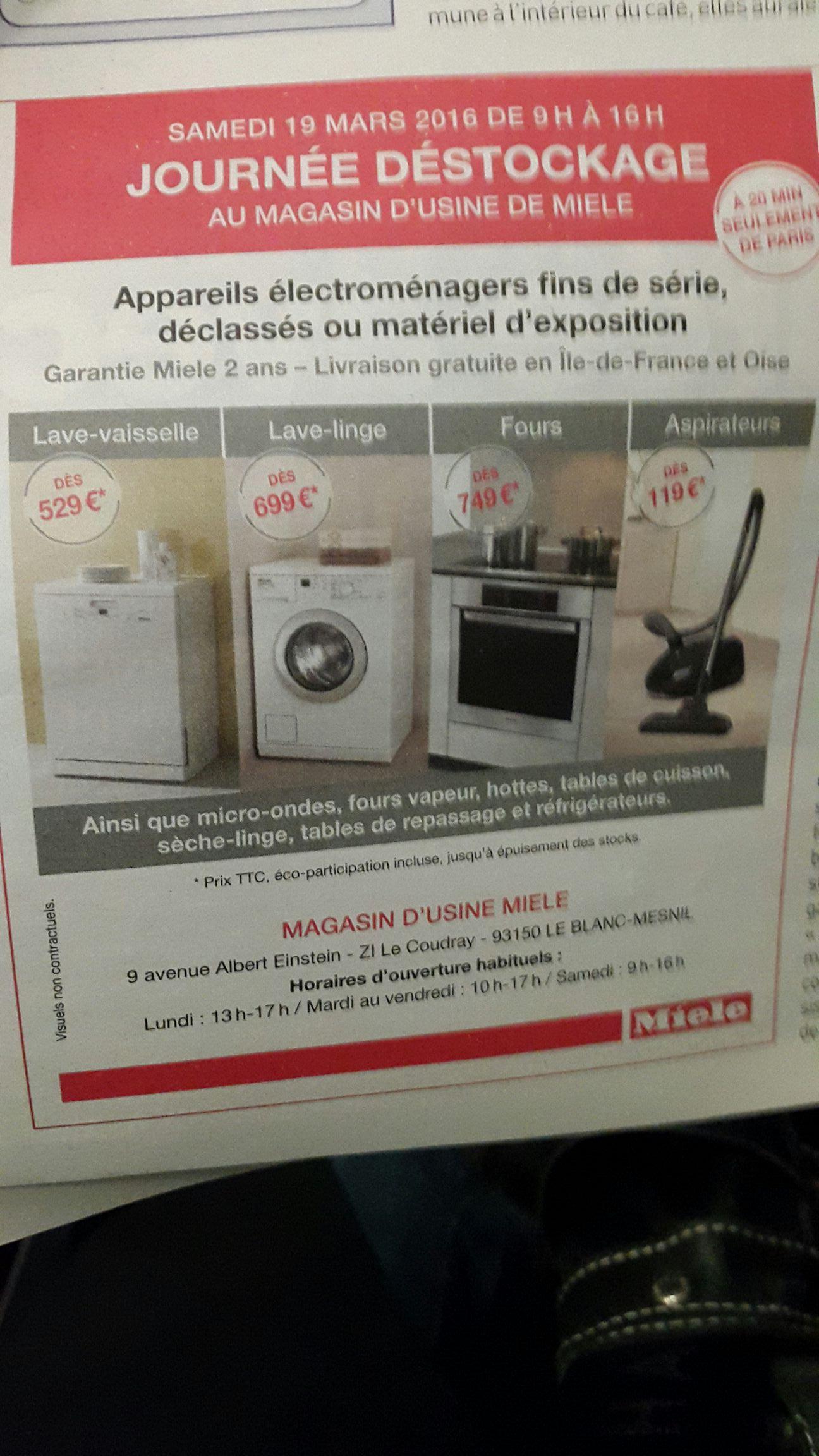 Sélection d'appareils électroménagers en déstockage