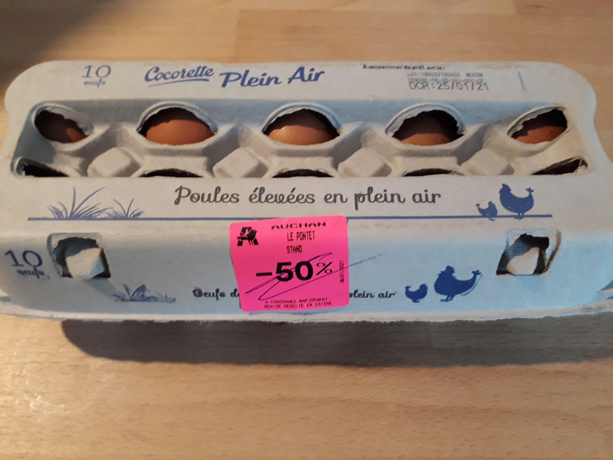 Boite de 10 Œufs Plein Air Cocorette (DCR 25/01) - Avignon Nord (84)