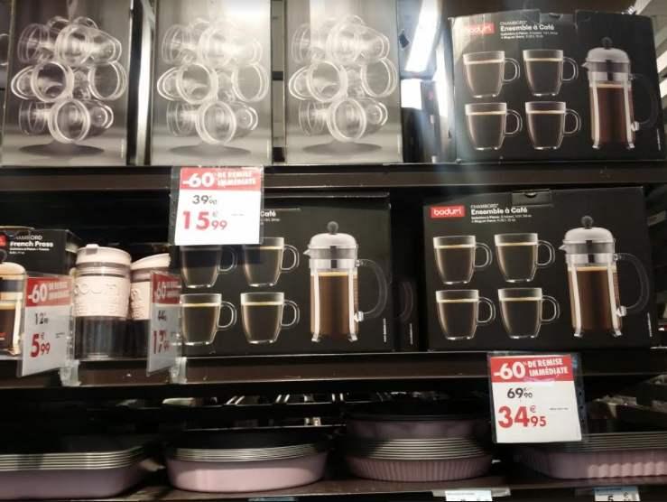 60% de réduction sur une sélection de produits Bodum - Ex : Ensemble à café : 4 Verres + Cafetière à piston - Noisy Arcades (93)