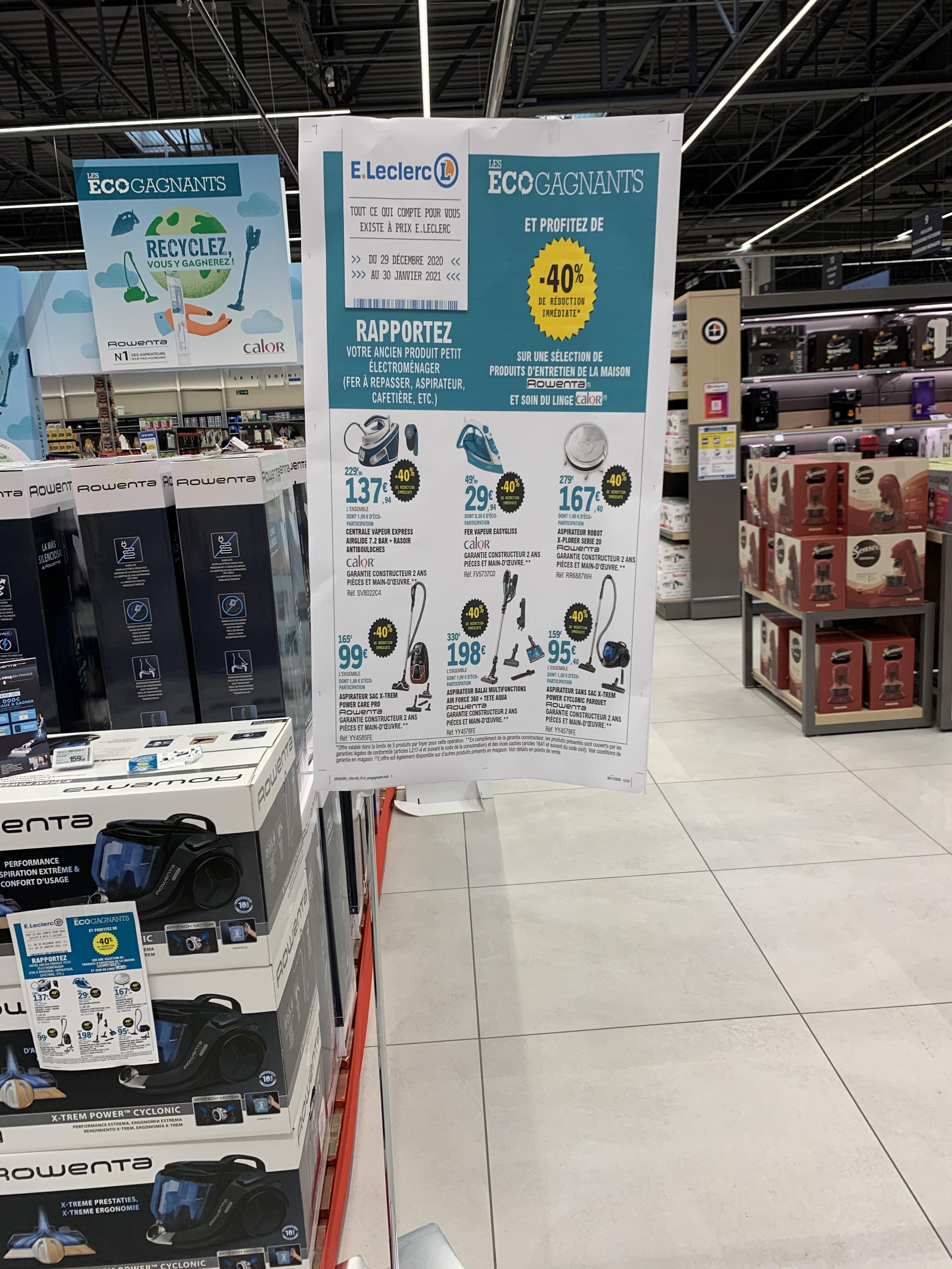 40% de réduction sur une sélection de produits Petit Electroménager Rowenta & Calor via la reprise d'un ancien produit - Frouard (54)