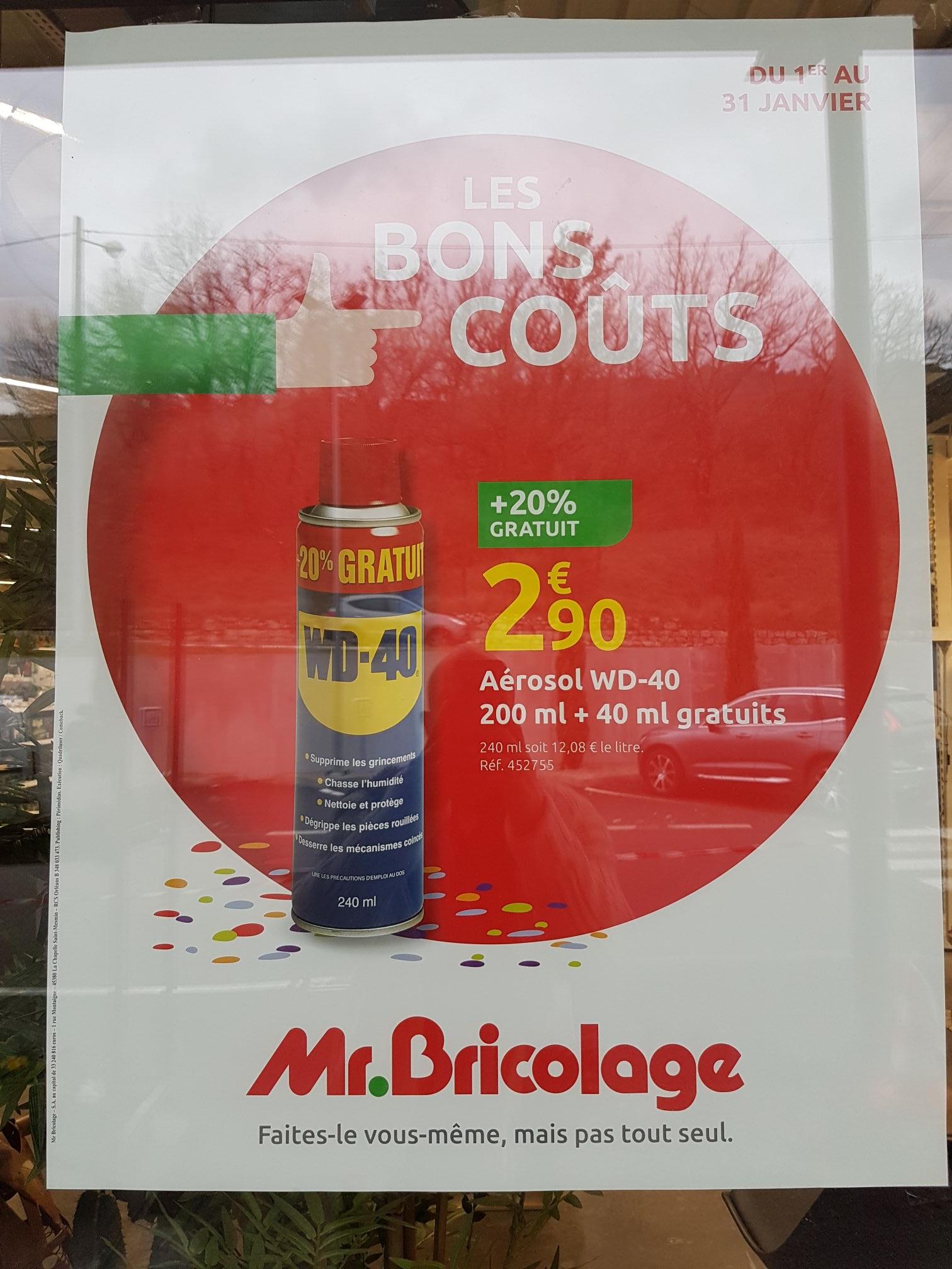 Dégrippant Multifonction WD40 - 200ml + 40 ml offert (Peymeinade 06)