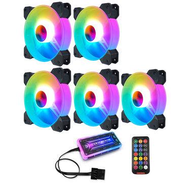 Lot de 5 ventilateurs PC Coolmoon (120mm, RGB) + Contrôleur