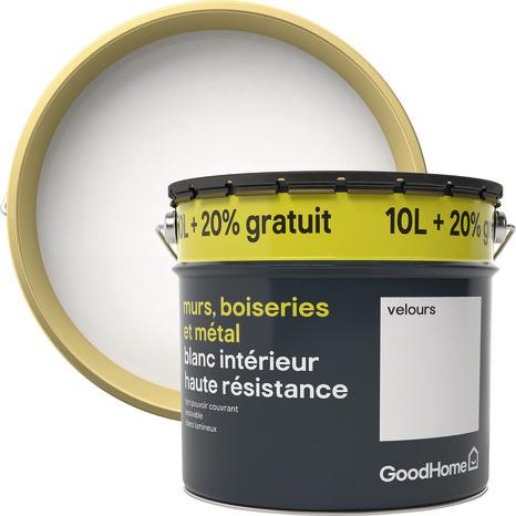 Pot de Peinture blanche mate haute résistance Goodhome - 12L