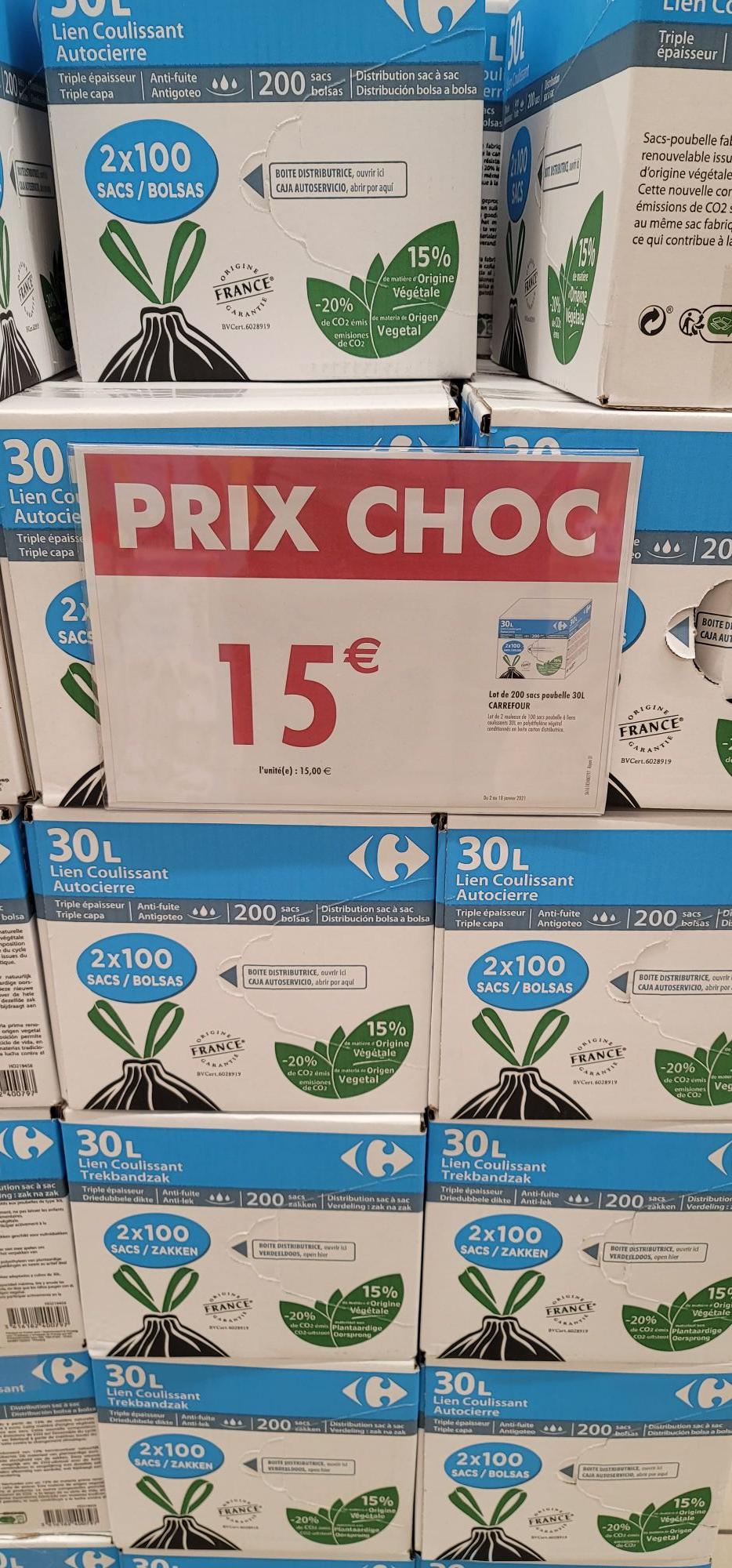 Lot de 200 sacs poubelles - 30L et 50L (Antibes - 06)