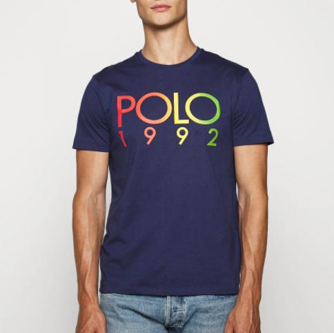 T-shirt imprimé Ralph Lauren Polo 1992 - Bleu ou Blanc, Diverses tailles