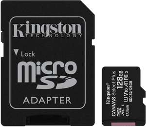 Carte mémoire microSDXC Kingston Canvas Select Plus - 128 Go + Adaptateur (Vendeur tiers)