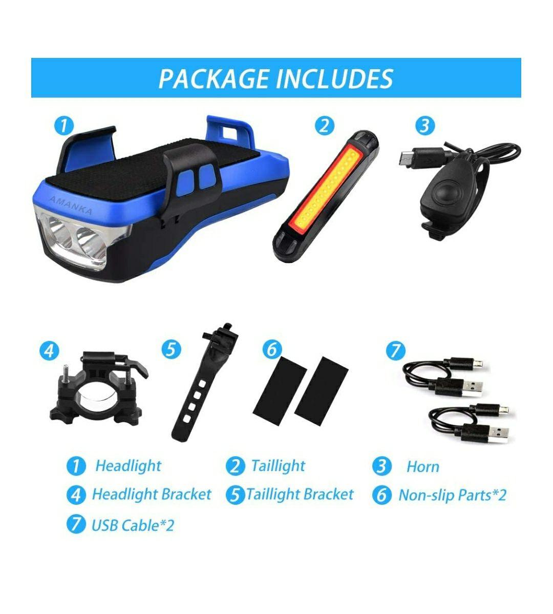 Kit support smartphone/éclairage + klaxon vélo Amanka (vendueur tiers)