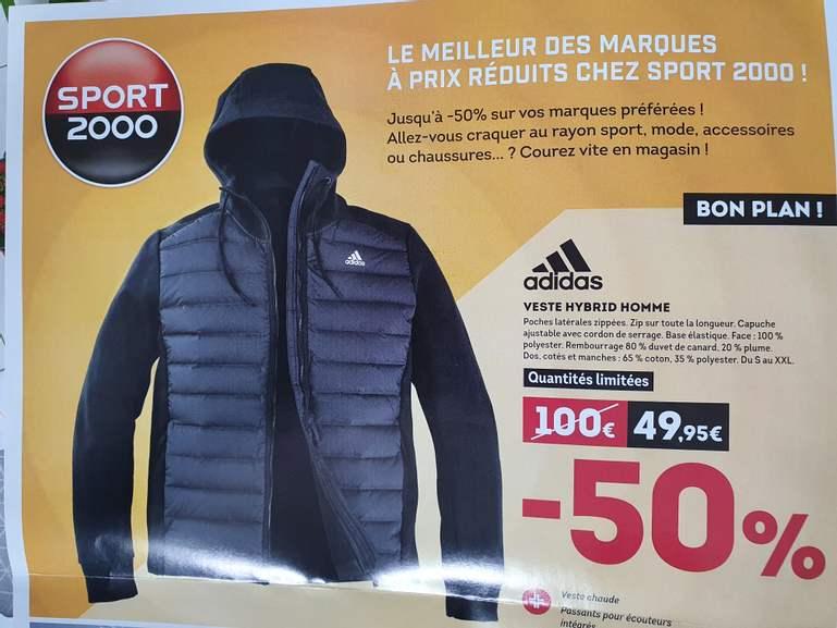 Veste Adidas hybride avec capuche ajustable - Rembourrage 80 % duvet de canard (Roanne 42)