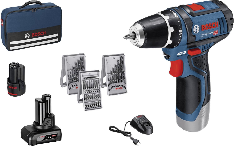 Coffret perceuse-visseuse Bosch GSR 12V-15-2-LI Professional - avec 2 batteries (4.0 Ah + 2.0 Ah) + set d'accessoires
