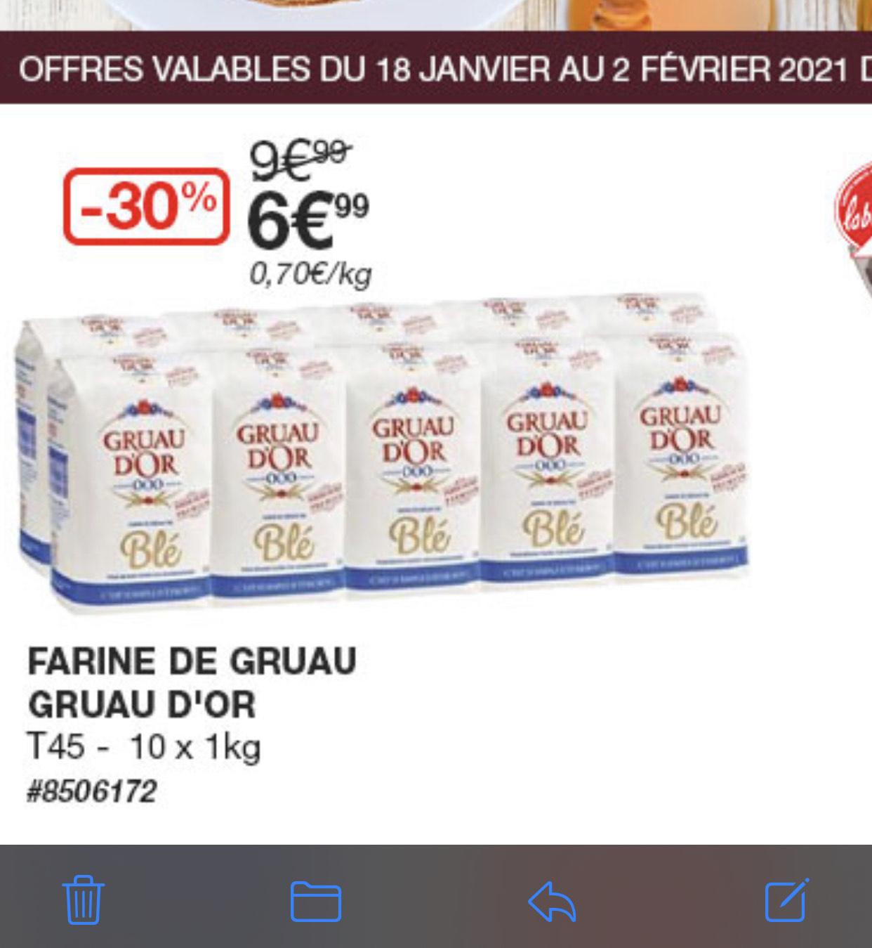 [Carte Costco] Lot de 10 paquets de de farine Gruau d'Or T45 (10 kg) - Villebon-sur-Yvette (91)