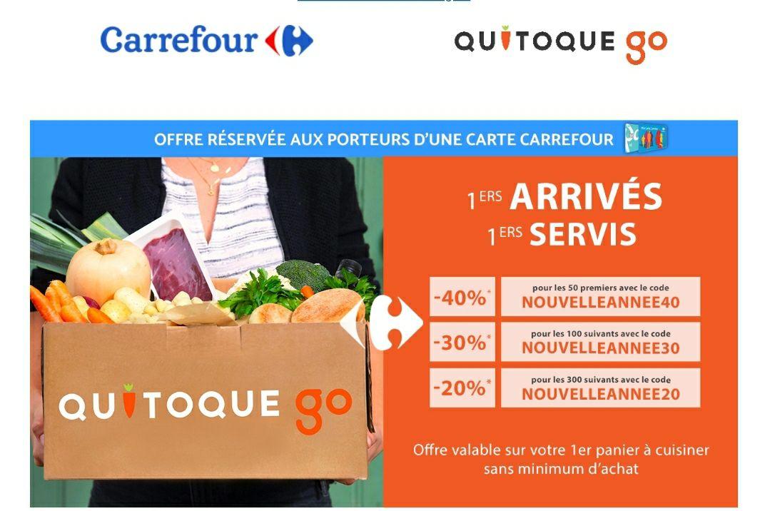 [Porteurs de la carte fidélité Carrefour / Nouveaux Clients] Jusqu'à-40% sur votre premier panier - quitoquego.fr