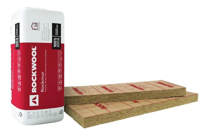 14 panneaux laine de roche Rockwoold - 1.35 x l.0.6 m, Ep.45 mm R=1.25 KR (le m²)