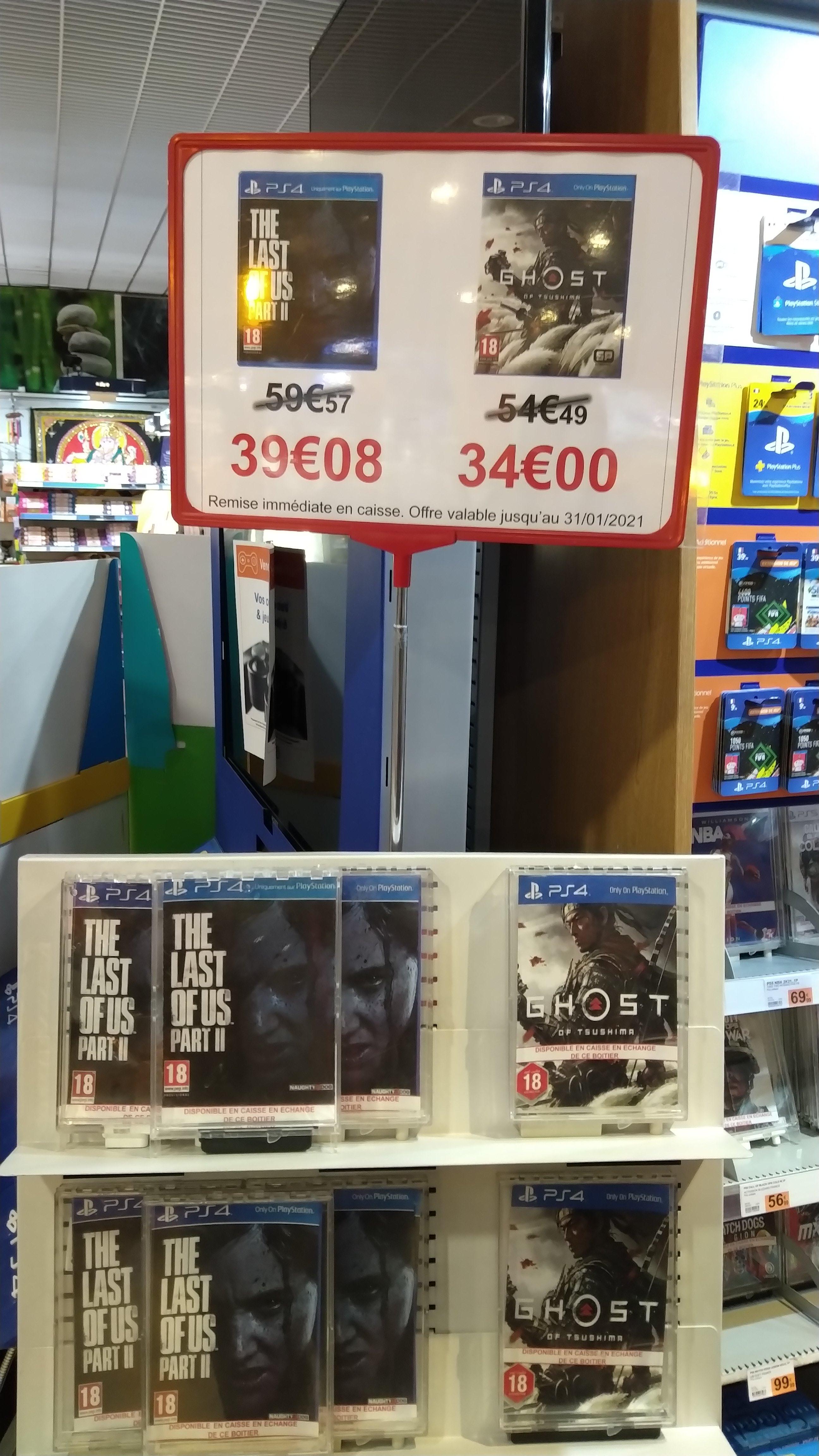 Sélection de Jeux vidéo sur PS4 en promotion - Ex : The Last Of Us Part 2 à 39.08€ ou Ghost of Tsushima à 34€ - Dammarie Les Lys (77)