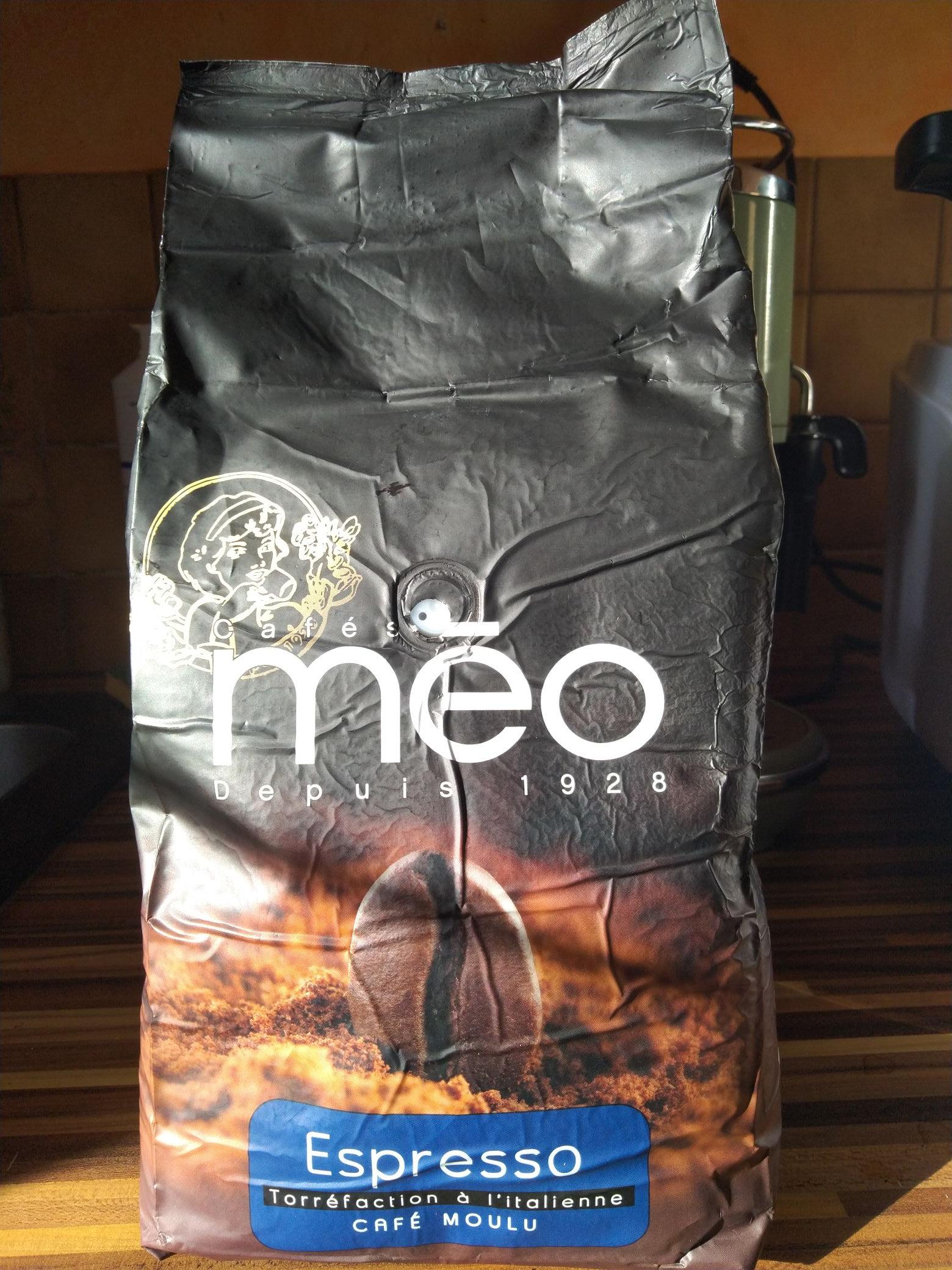 Paquet de Café moulu Méo Espresso torréfaction à l'italienne 1 kg - Saran (45)