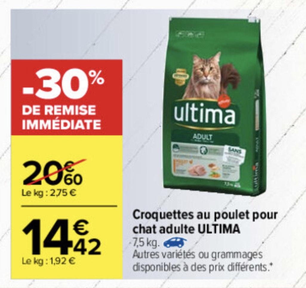 Croquettes pour chat adulte Ultima - 7,5kg (Plusieurs variétés & grammages)