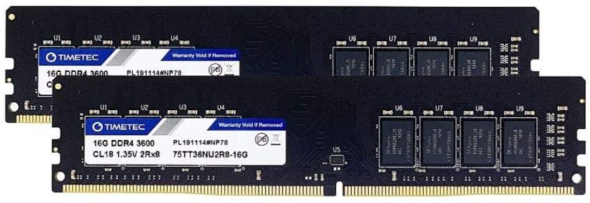 Kit Mémoire RAM Timetec Extreme Performance Hynix - 32 Go (2 x 16Go), DDR4, 3600MHz, CL18 (vendeur tiers)
