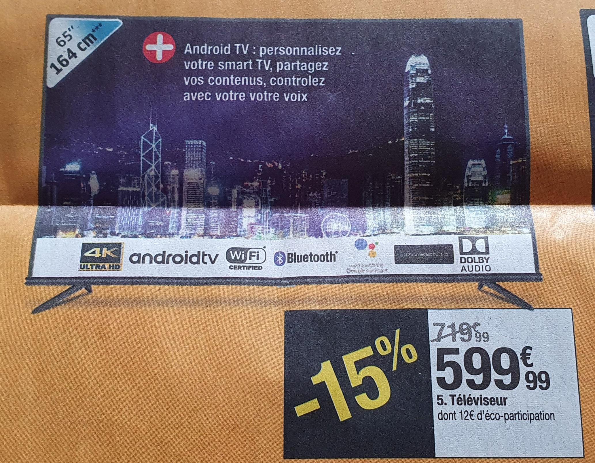 """Sélection de TV en promotion - Ex : TV 65"""" TCL 65EP662 - 4K UHD, LED, Android TV, Dolby Audio"""