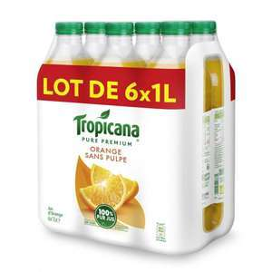 Pack de 6 bouteilles de jus d'orange Tropicana - 1L