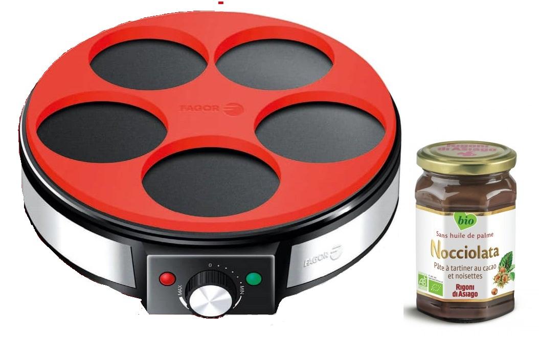 Crêpière Fagor FG-0965 (thermostat réglable, répartiteur, moule en silicone, 1200 W, 30 cm) + pot de pâte à tartiner bio Nocciolata (350 g)