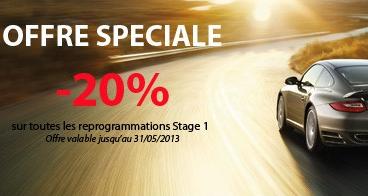 -20% sur toutes les reprogrammations moteur Stage 1 (sur Lyon et Paris uniquement)