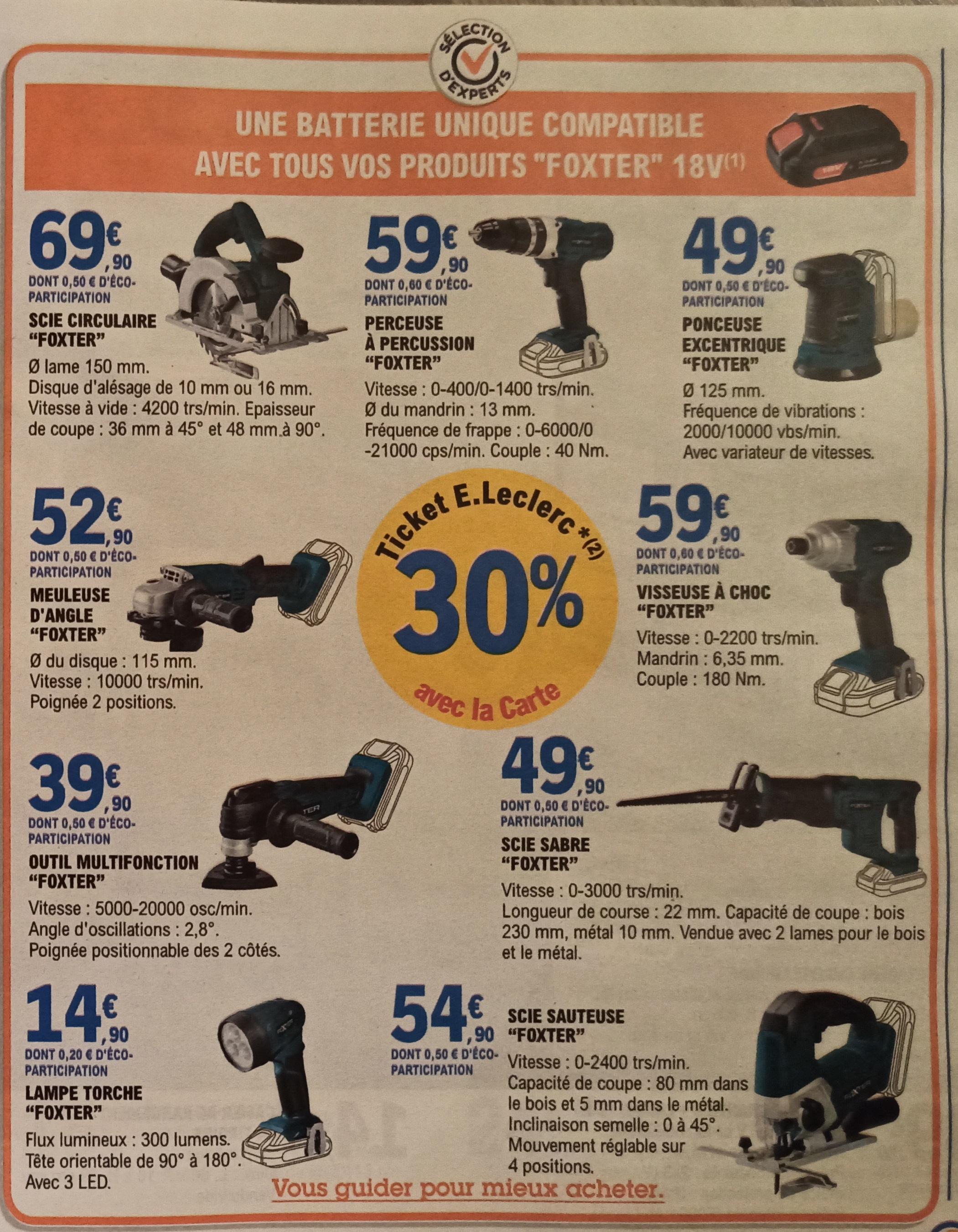 Sélection d'outils ou accessoires bricolage Foxter en promotion (30% sur carte de fidélité ou remise immédiate)