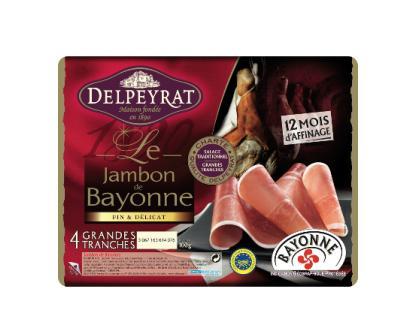 6 fines tranches de Jambon de Bayonne ou Serrano Delpeyrat (via BDR) - 12 mois, 100g