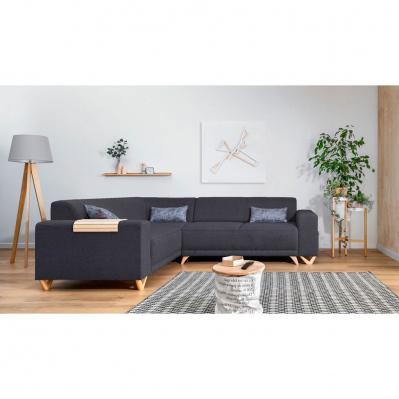 Canapé d'angle convertible en tissu Bobochic Bella - 5 places, anthracite, angle gauche