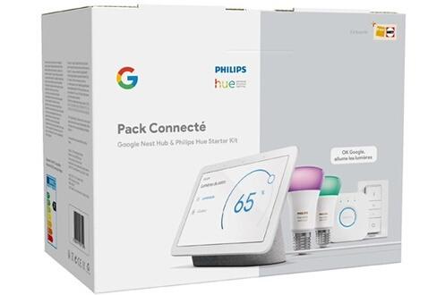 Kit de démarrage Philips Hue (2 ampoules LED E27 + pont de connexion + interrupteur Dimmer Switch) + Google Nest Hub (via retrait magasin)