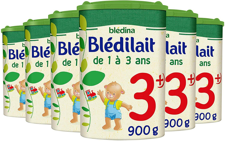 Lot de 6 boîtes de 900g de lait de Croissance 3ème âge Blédilait (1 à 3 ans)