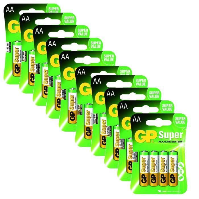 Lot de 40 piles alcalines GP Super - LR06 AA