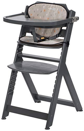 Chaise Haute pour bébé en Bois et Evolutive Timba avec coussin Warm Grey Safety 1st