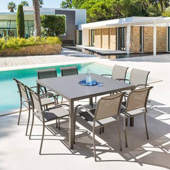 Table de jardin carrée Piazza Tonka - 8 places (hesperide.com)