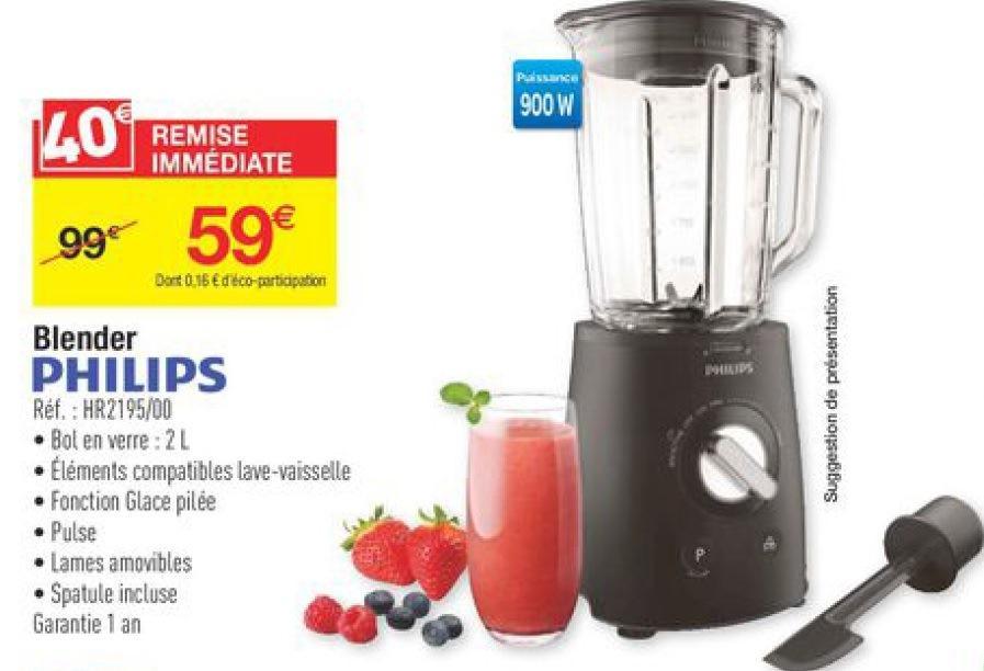 Blender Philips HR2195/00 - 900W, bol en verre de 2L