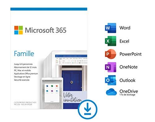 Abonnement de 12 Mois à Microsoft 365 Famille, Téléchargement, PC ou Mac, Jusqu'à 6 personnes (Dématérialisé)