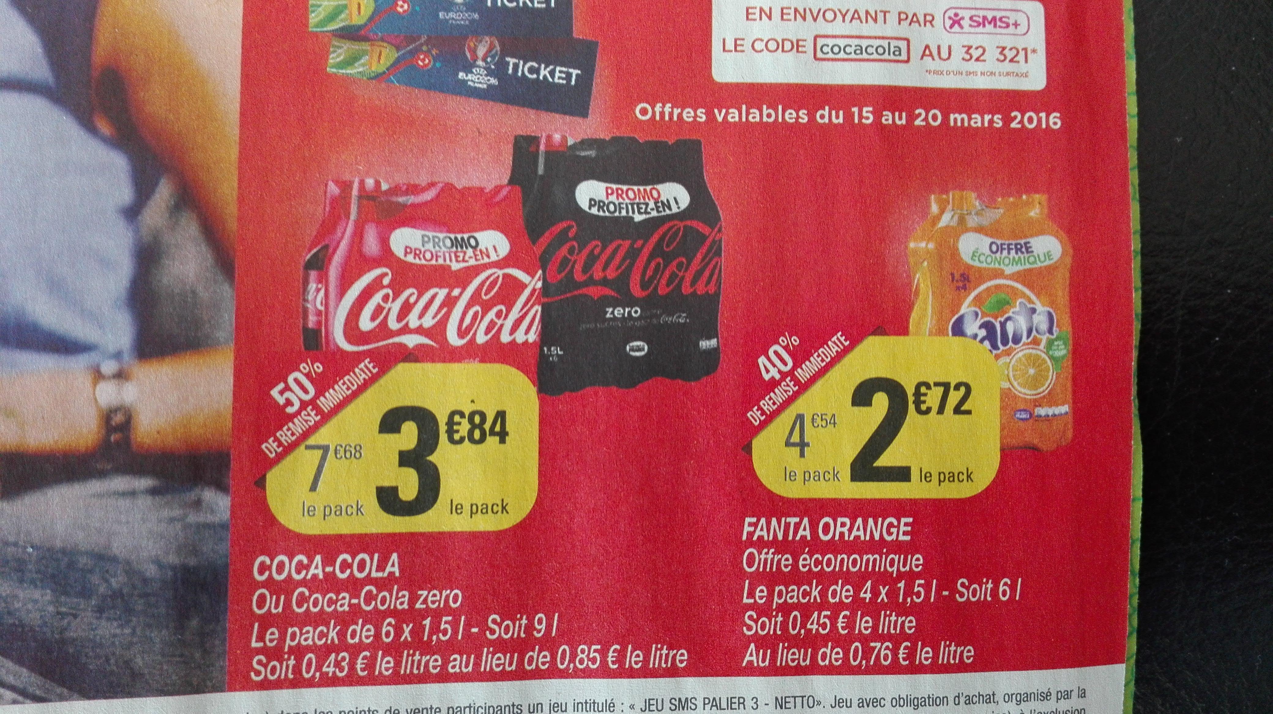 2 Packs de Coca Cola regular ou Zero - 6x1.5L (via BDR)