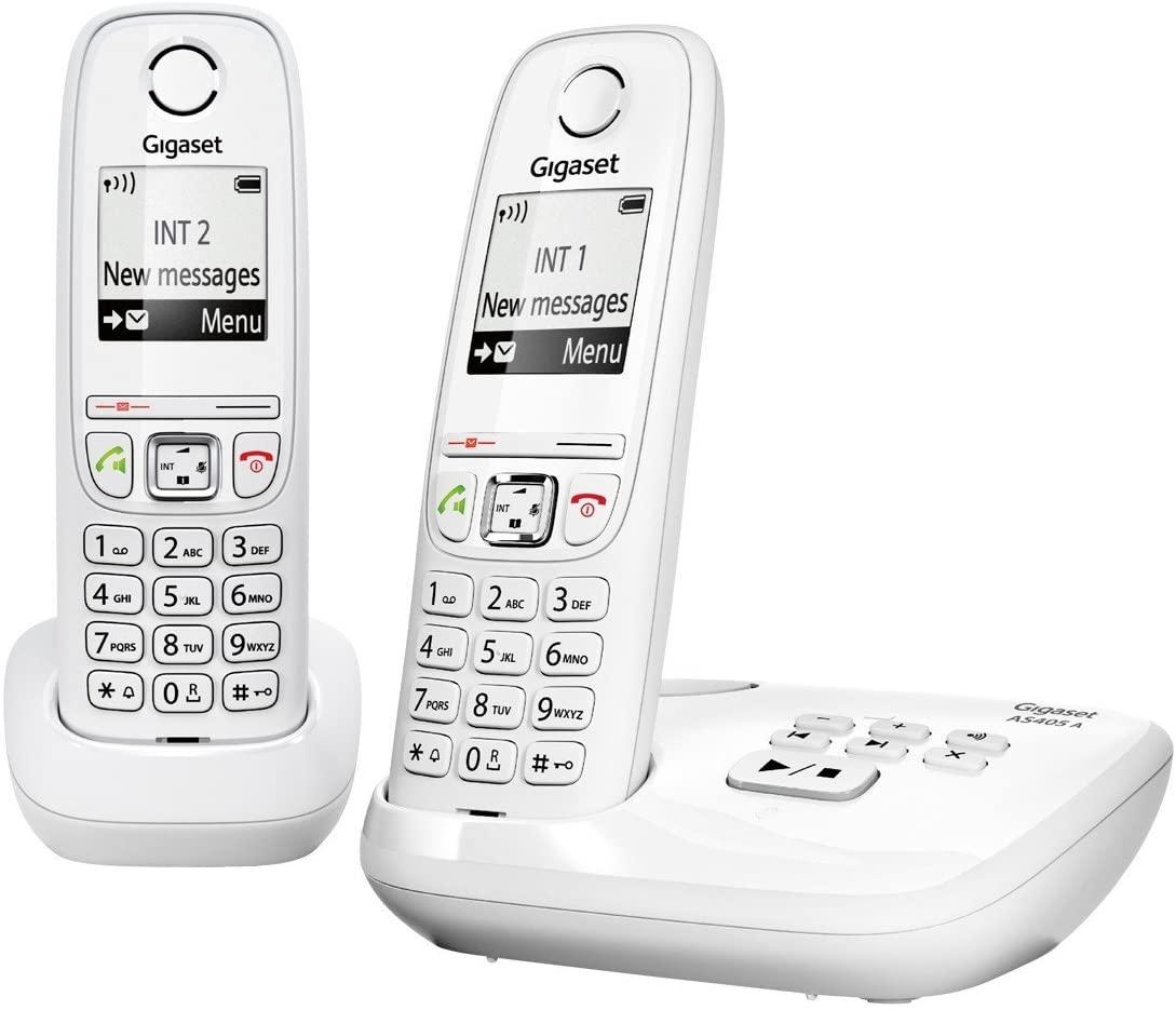 Pack de 2 téléphones fixes Gigaset AS405 Duo avec Répondeur