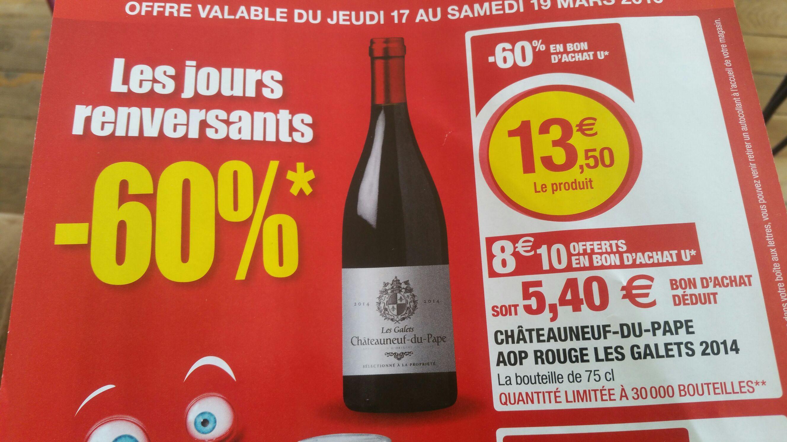 Bouteille de vin rouge Châteauneuf du pape AOP Les galets 2014 - 75cl (via 8.10€ en bon d'achat)
