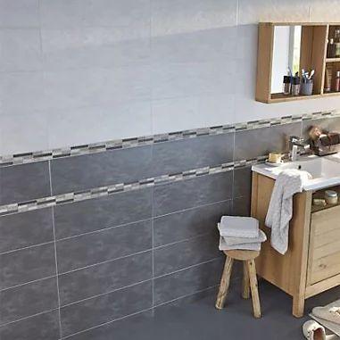 Carrelage mur Gris effet béton 20 x 60 cm Romana - Le M²