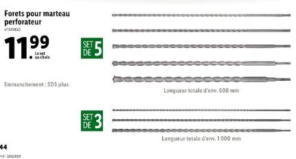 Sélection d'outils et accessoires en promotion - Ex : lot de 5 ou 3 forets SDS pour marteau perforateur - 600 ou 1000 mm