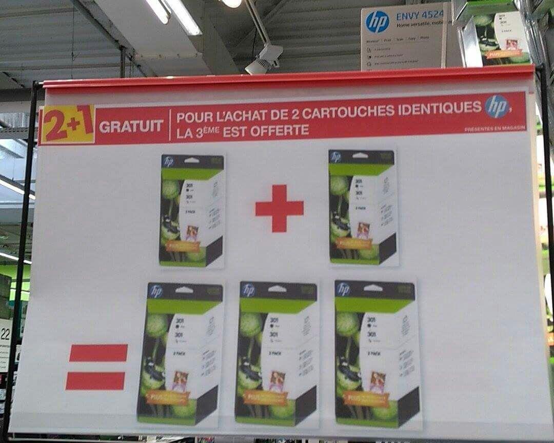 2 Cartouches HP identiques  achetées = la 3ème offerte
