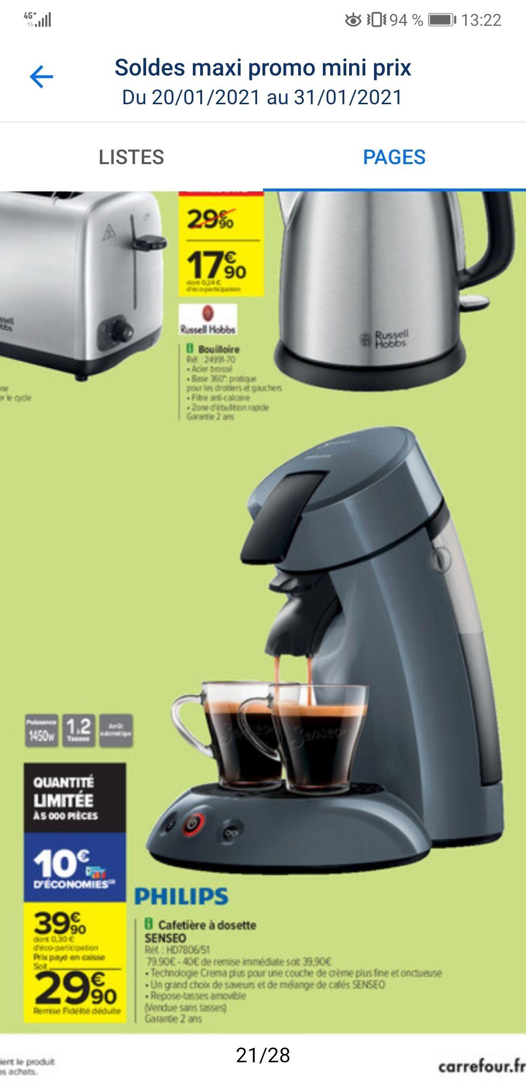 Cafetière Philips Senseo Original HD7806/51 (Via 10€ sur Carte Fidélité)
