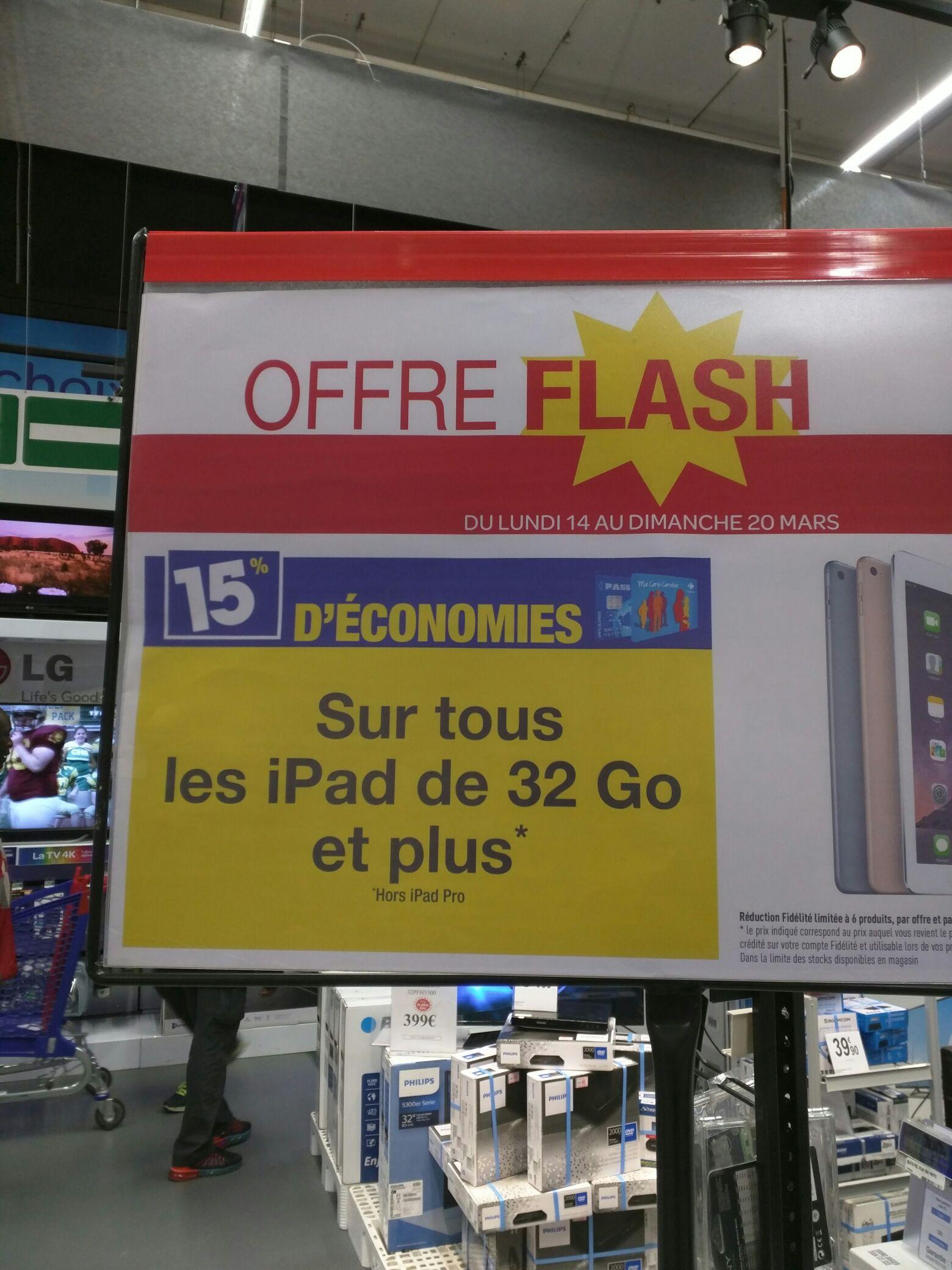 [Carte Carrefour] 15% de remise sur tous les iPad de 32 Go et plus (hors iPad Pro)